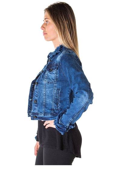 Ladies fashion cropped ruffled denim jacket