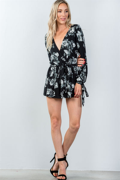 Ladies fashion plunging v-neckline tie long sleeve waist tie floral romper