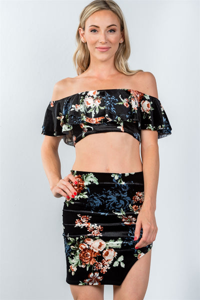 Ladies fashion black strapless ruffle crop top and mini skirt with thigh split