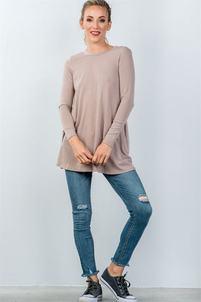 Ladies fashion round neckline long sleeve back keyhole tunic top