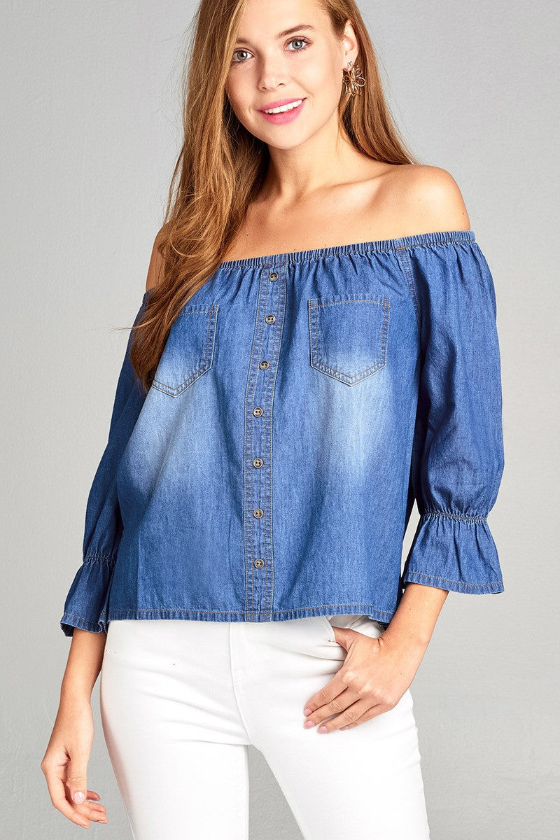 Ladies fashion 3/4 sleeve off the shoulder w/pocket button front chambray top
