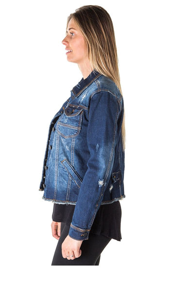 Ladies fashion distress denim jacke