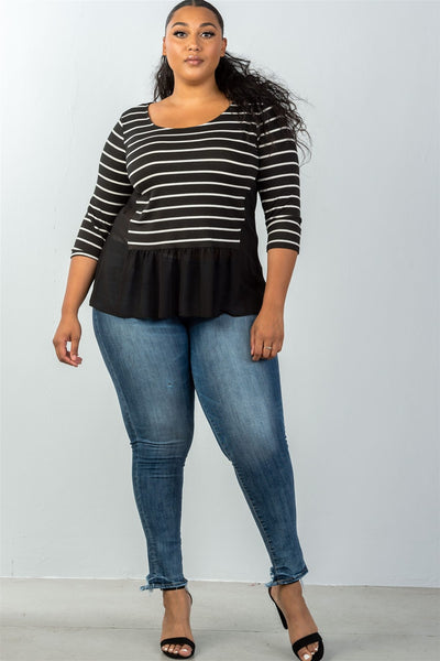 Ladies fashion plus size 3/4 sleeve stripe front top with mesh detail