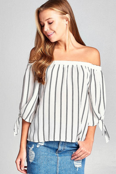 Ladies fashion plus size 3/4 sleeve w/ribbon tie off the shoulder stripe print woven top