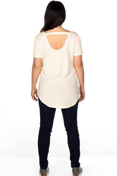 Ladies fashion plus size short sleeve off white back cut out graphic top