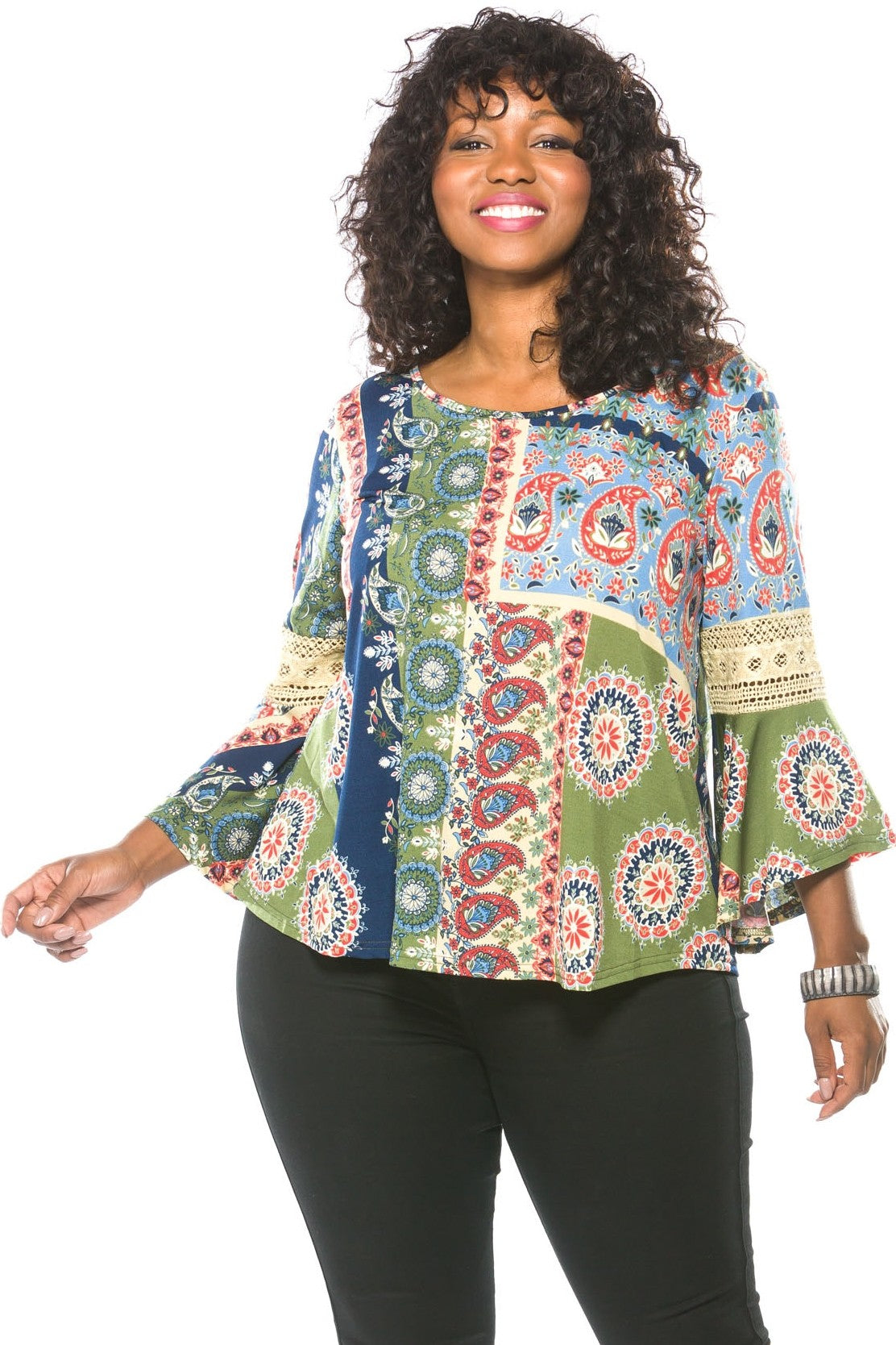 Ladies fashion plus size boho multi color boho contemporary bell sleeve top