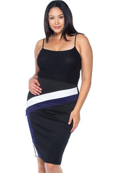 Ladies fashion plus size black blue white color block pencil midi skirt