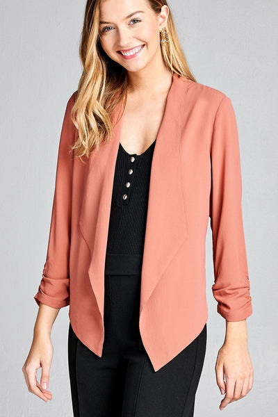 Ladies fashion shirring sleeve open front w/lapel woven jacket
