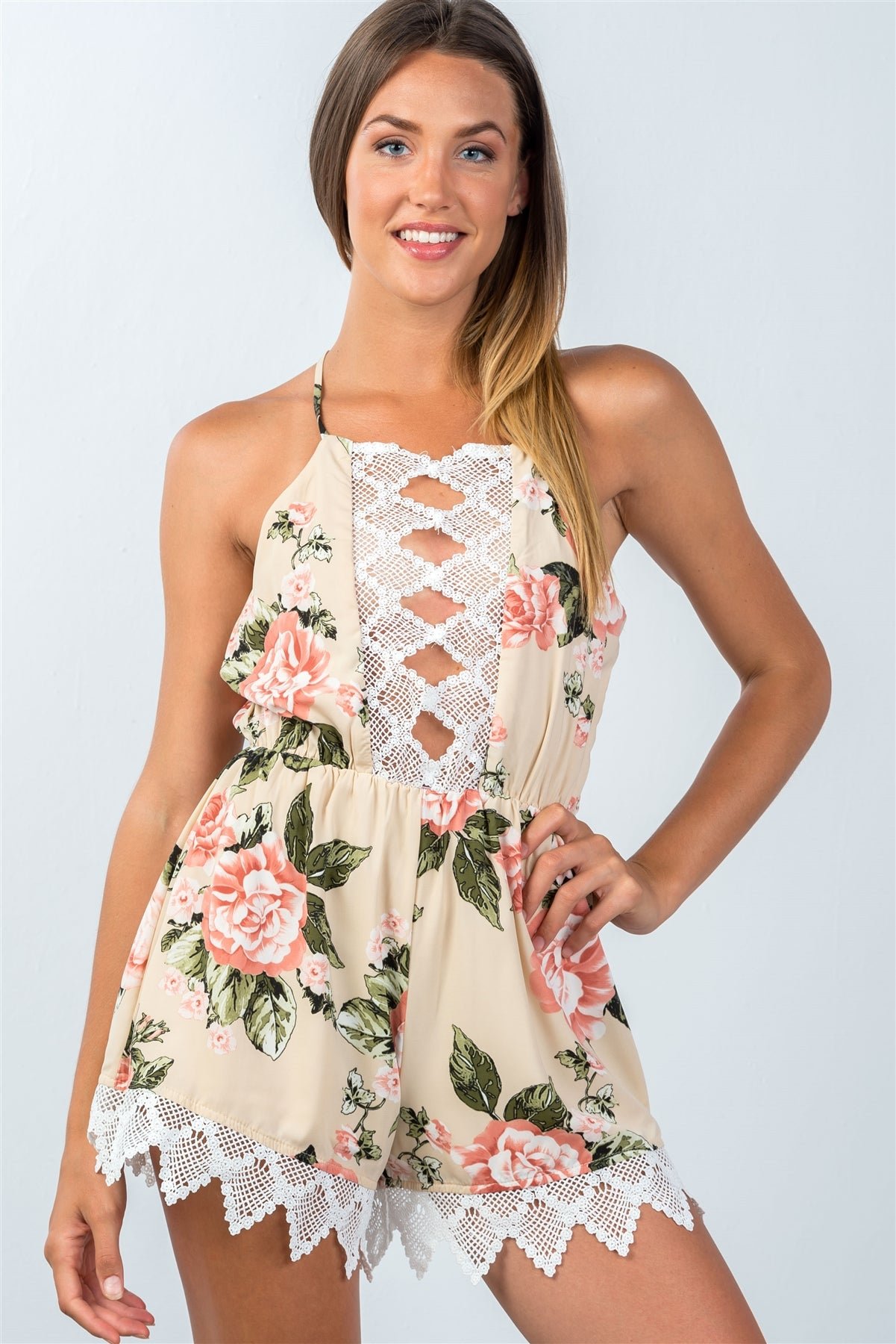 Ladies fashion all over flower print sleeveless crochet trim romper