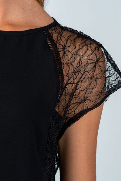 Ladies fashion semi-sheer black lace and ladder-stitch trim top