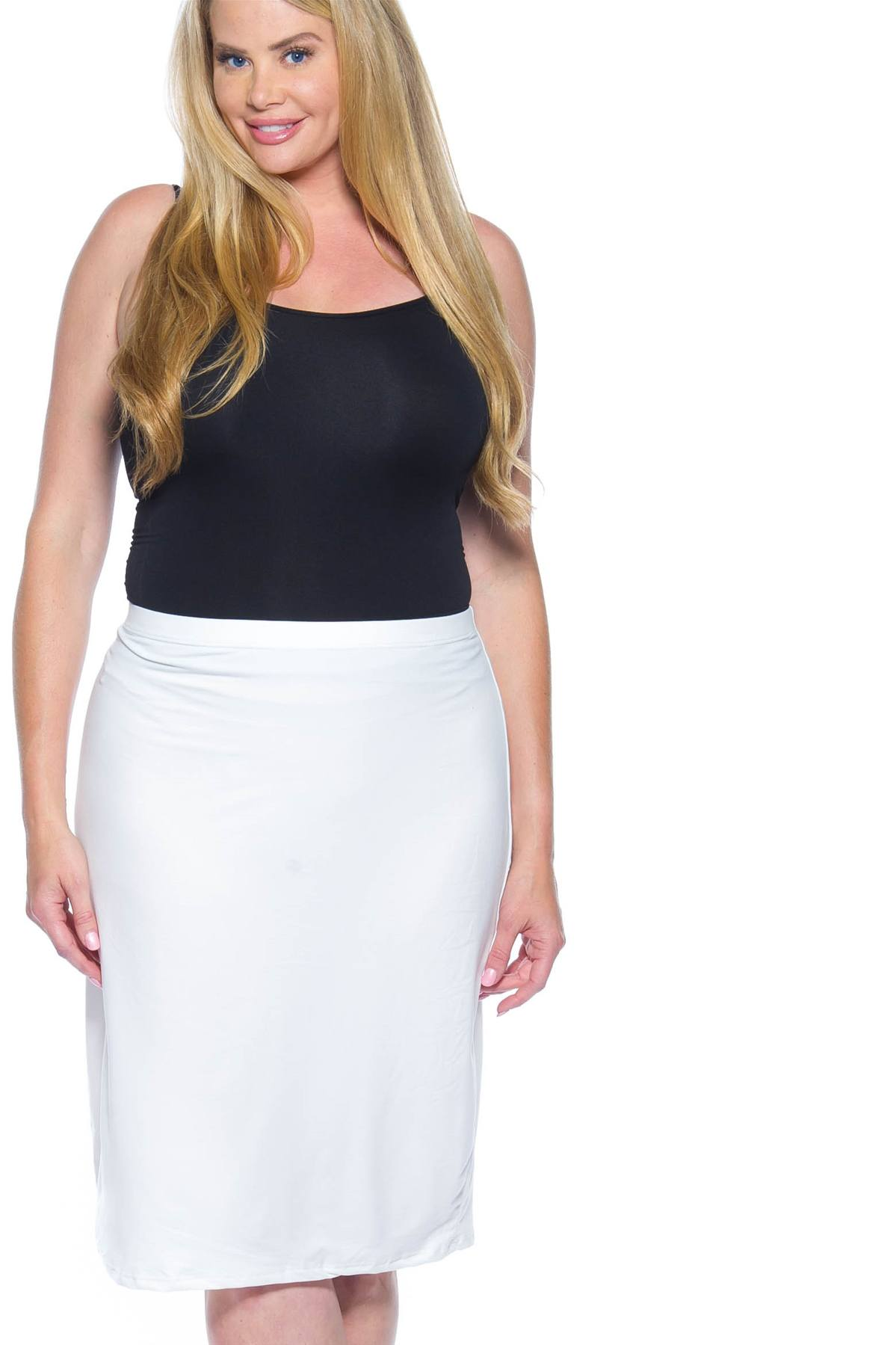 Ladies fashion plus size white pencil skirt