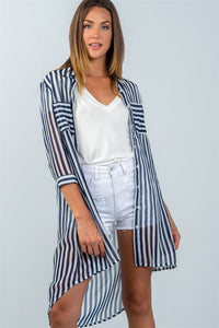 Ladies fashion 3/4 sleeve  semi sheer striped hi-low blouse