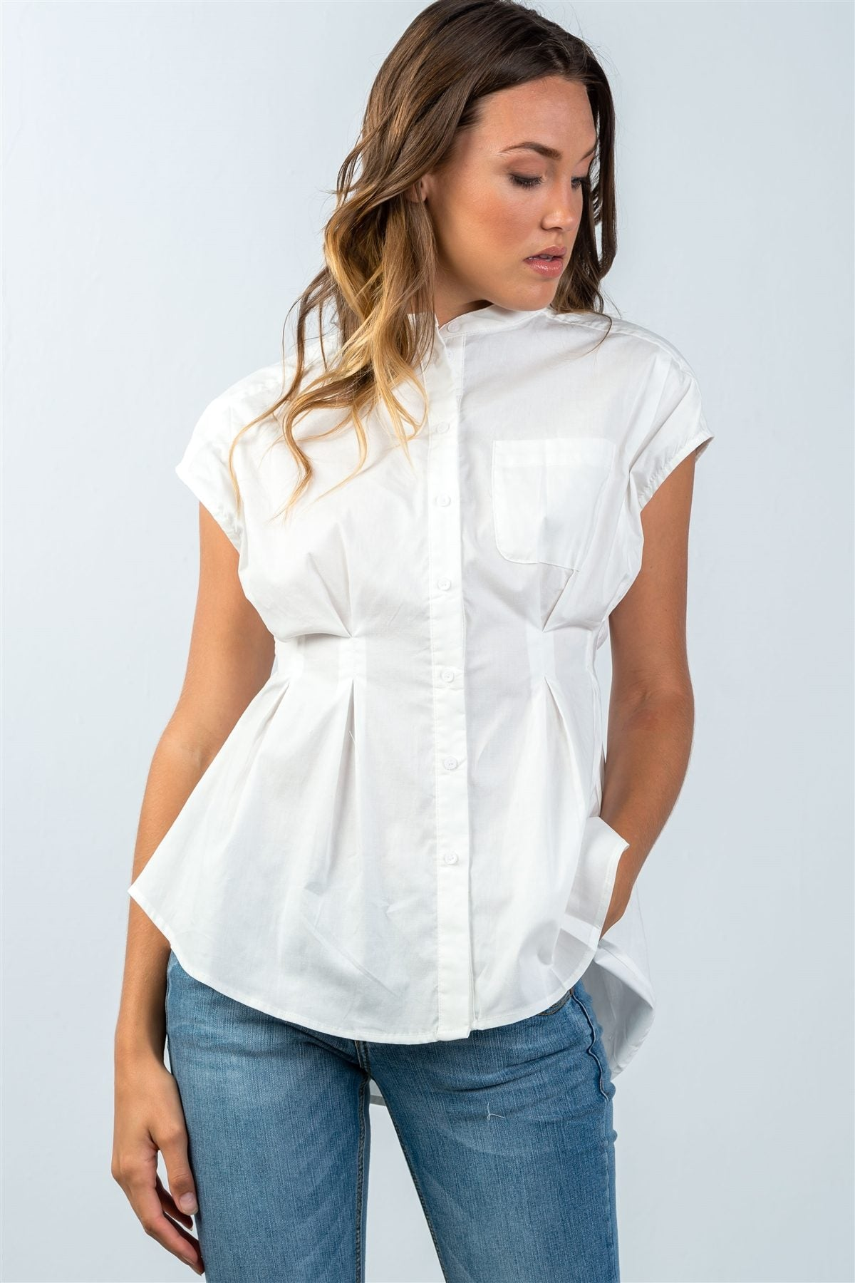 Ladies fashion round neckline white one pocket cap sleeve blouse