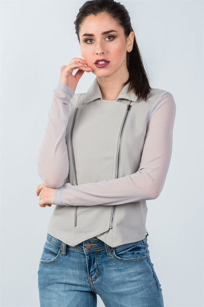 Ladies fashion grey mesh long sleeve double zipper front jacket