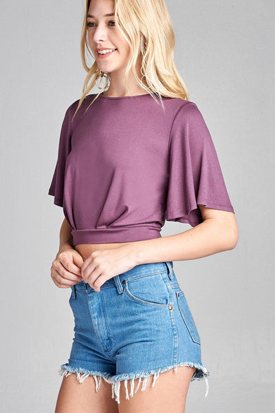 Ladies fashion plus size short bell sleeve round neck wrap w/bow tie rayon spandex crepe knit top