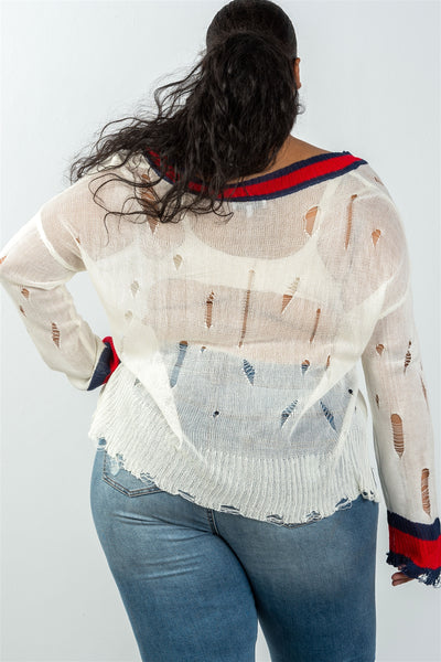 Ladies fashion plus size v neckline size stripe shark-bite sweater
