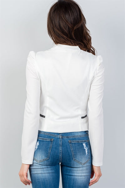 Ladies fashion side zipper closure gathered shoulders jacket