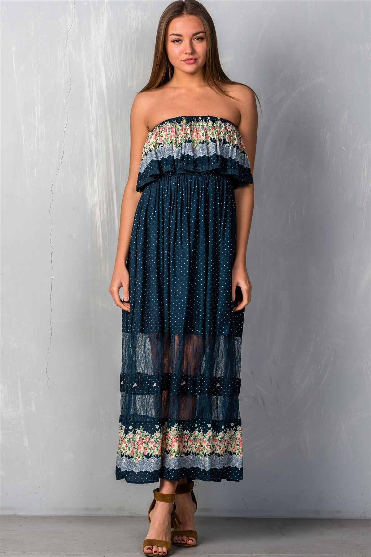 Ladies fashion polka dot w/ floral print navy flounce maxi boho dress