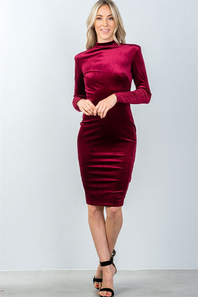 Ladies fashion long sleeve velvet burgundy key hole back midi dress