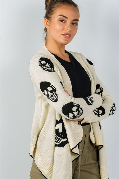 Ladies fashion tunic length skull knitting tunic cardigan