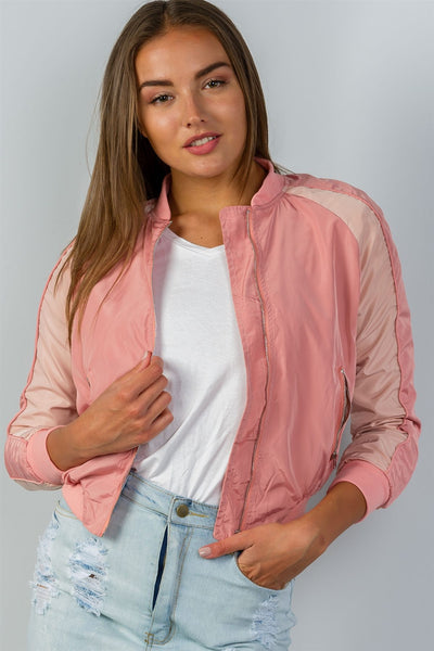 Ladies fashion color block stand collar zipper long sleeve bomber jacket