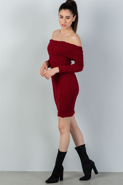 Ladies fashion burgundy ribbed long sleeve bodycon sweater dress