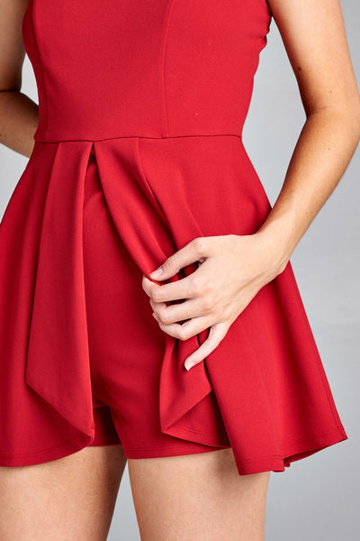 Ladies fashion v-neckline flounce skirt-look overlay pleated detail romper