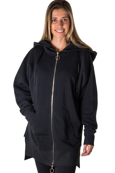 Ladies fashion fleece zip up sweatshirt oversize long hoodie outerwear jacket