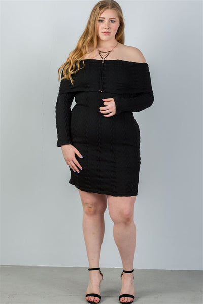 Ladies fashion plus size off the shoulder black ribbed long sleeve bodycon sweater dress
