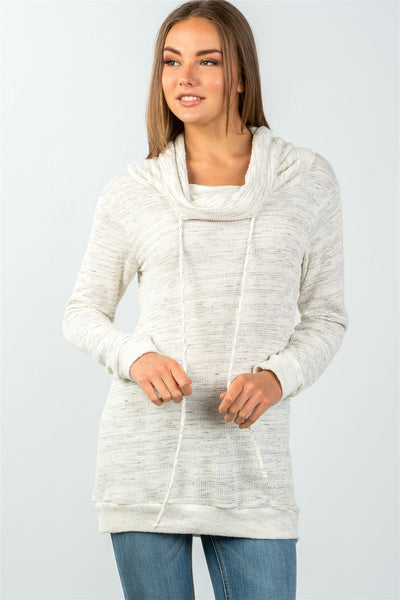 Ladies fashion long sleeve cream cowl neck pullover