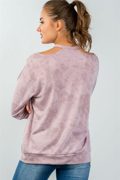 Ladies fashion acid washed rose round neck cutout pullover