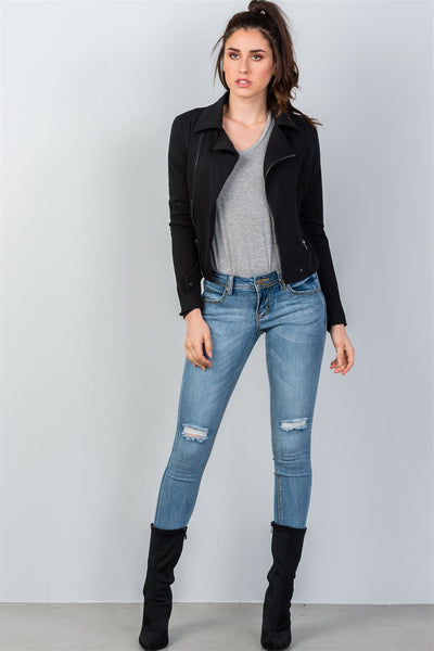 Ladies fashion asymmetric zippered faux suede jacket