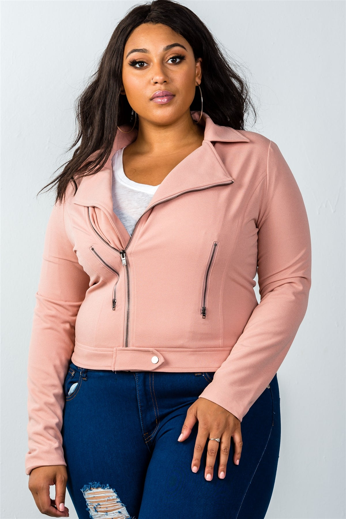 Ladies fashion plus size  asymmetric zipper moto jacket