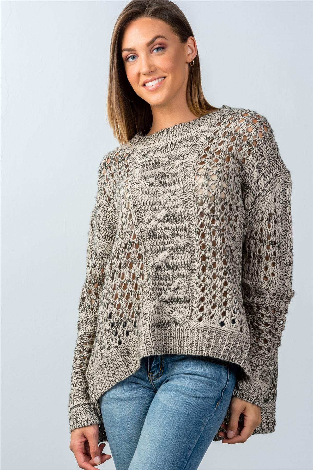 Ladies fashion  black and taupe open knit hi-low sweater