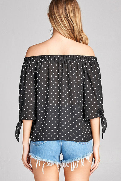 Ladies fashion plus size 3/4 sleeve w/ribbon tie off the shoulder dot print woven top