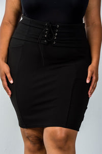 Ladies fashion plus size self tie lace up pencil mini skirt
