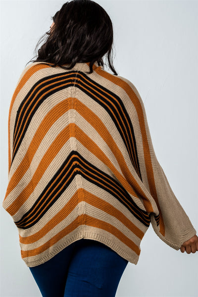 Ladies fashion plus size multi mocha stripe oversized knit cardigan