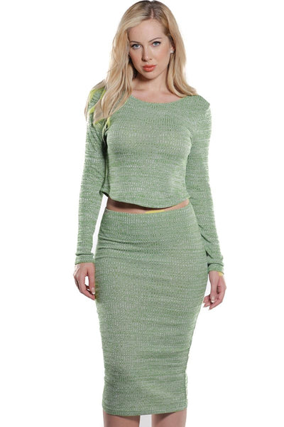 Ladies Rib Crop & Skirt Set