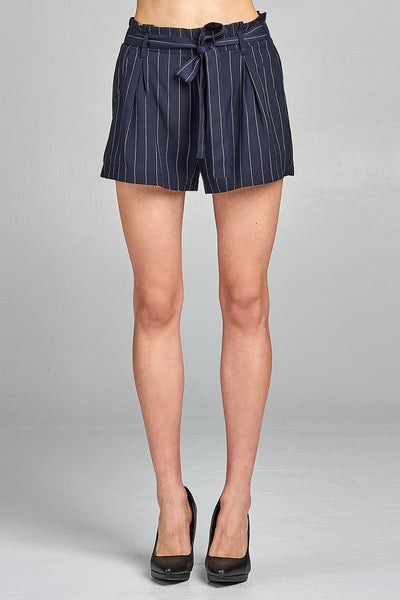 Ladies fashion self ribbon belt stripe high waist short pants