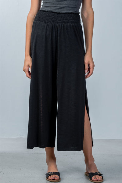 Ladies fashion elastic waistband side slit cropped pants