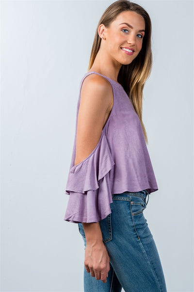 Ladies fashion back keyhole open-shoulder batwing top