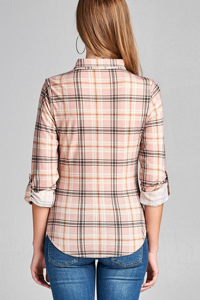 Ladies fashion plus size 3/4 roll up sleeve front pocket detail plaid check print stretch knit shirts