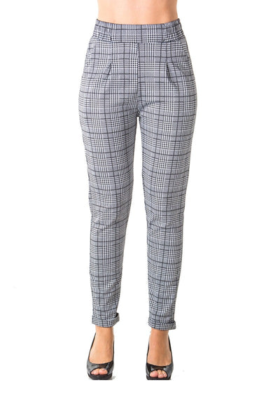 Ladies fashion casual plaid trouser pants, stretch, elastic waist, cuffed folded ankle & 2 front pockets