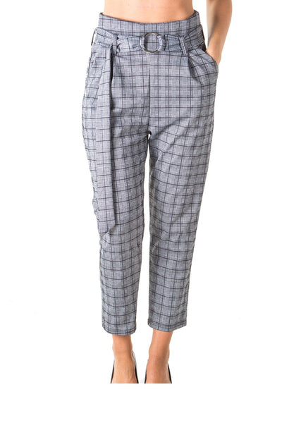 Ladies fashion casual belted plaid pants, stretch, wide & elastic high waist, 2 front pockets