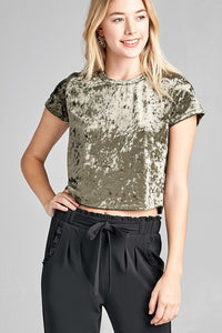 Ladies fashion short sleeve round neck ice velvet crop top
