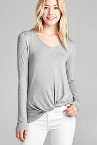 Ladies fashion long sleeve v-neck front twisted rayon spandex crepe top