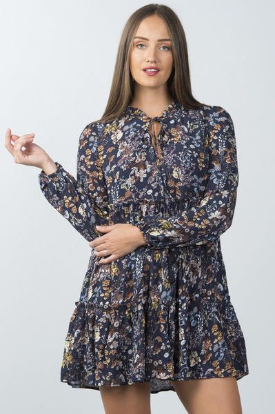 Ladies fashion multi navy floral neck-tie peasant mini dress