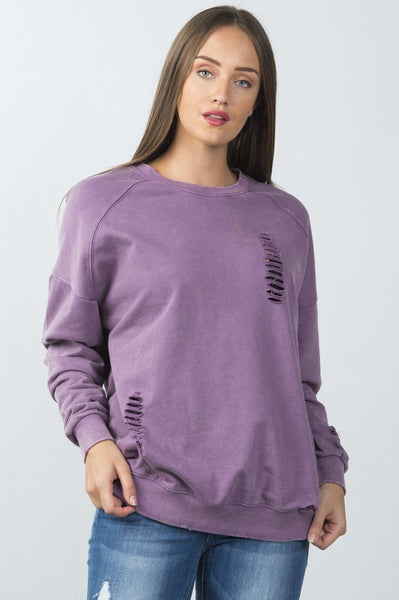 Ladies fashion long sleeves  distressed sweater
