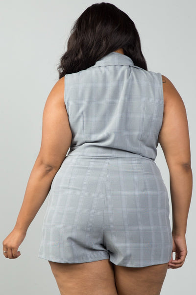 Ladies fashion plus size mini length grey glen plaid surplice romper