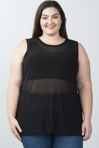 Ladies fashion plus size sleeveless mesh tank top